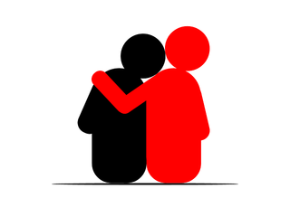 Image of red stick person side-hugging black stick person while seated. Black stick person is leaning into red stick person.