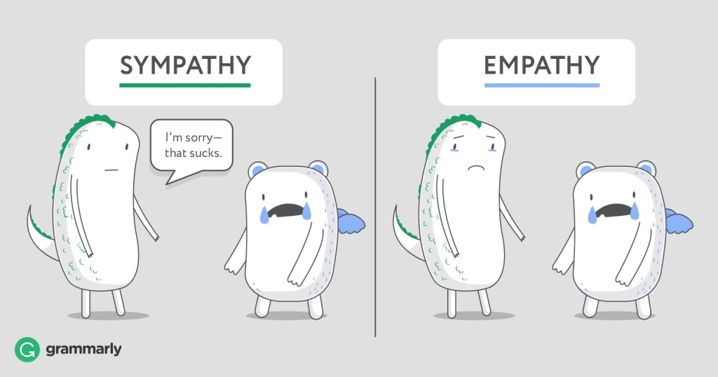 """Two-sided image. One side is titled """"sympathy"""" and shows a green-haired being telling a blue-winged being (who is crying) """"I'm sorry - that sucks"""". On the other side - Empathy - both beings are crying a bit."""